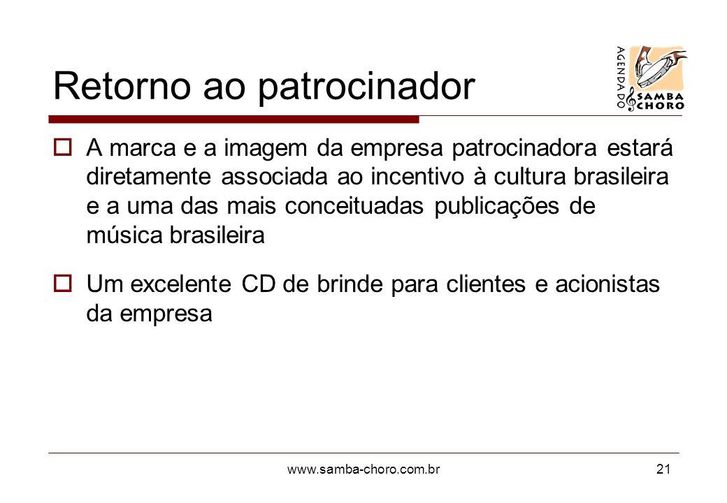 www.samba-choro.com.br21 Retorno ao patrocinador A marca e a imagem da empresa patrocinadora estará diretamente associada ao incentivo à cultura brasi