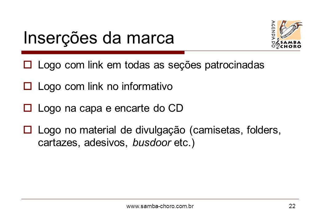 www.samba-choro.com.br22 Inserções da marca Logo com link em todas as seções patrocinadas Logo com link no informativo Logo na capa e encarte do CD Lo