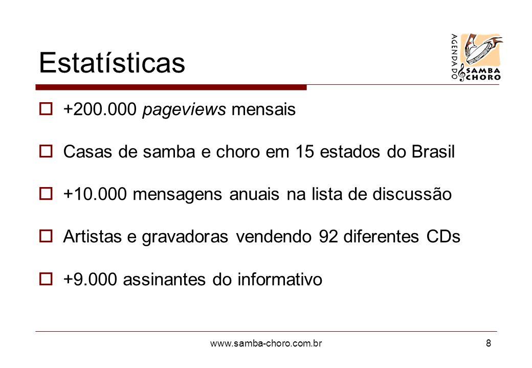 www.samba-choro.com.br8 Estatísticas +200.000 pageviews mensais Casas de samba e choro em 15 estados do Brasil +10.000 mensagens anuais na lista de di