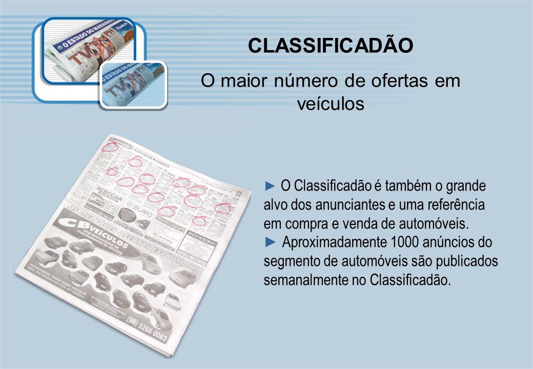 CLASSIFICADÃO O maior número de ofertas em veículos O Classificadão é também o grande alvo dos anunciantes e uma referência em compra e venda de autom