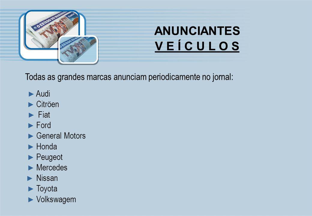 ANUNCIANTES V E Í C U L O S Todas as grandes marcas anunciam periodicamente no jornal: Audi Citröen Fiat Ford General Motors Honda Peugeot Mercedes Ni