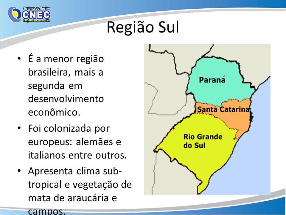 Região Sul É a menor região brasileira, mais a segunda em desenvolvimento econômico. Foi colonizada por europeus: alemães e italianos entre outros. Ap
