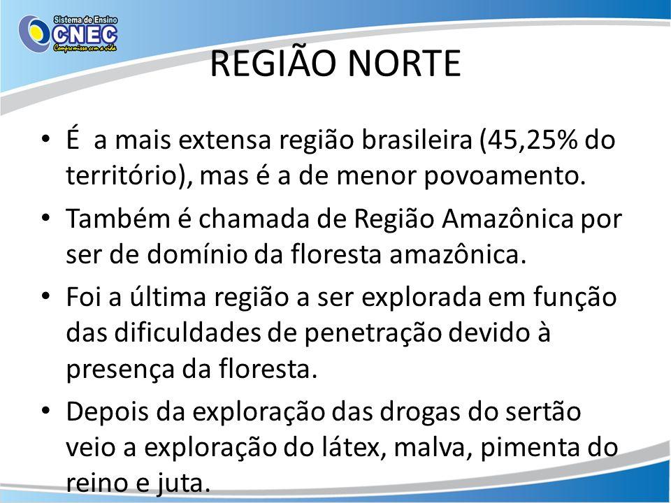 REGIÃO NORTE É a mais extensa região brasileira (45,25% do território), mas é a de menor povoamento. Também é chamada de Região Amazônica por ser de d