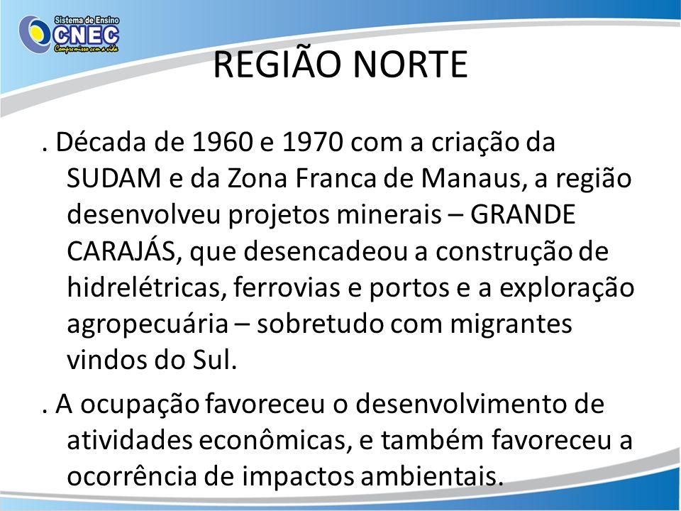 REGIÃO NORTE. Década de 1960 e 1970 com a criação da SUDAM e da Zona Franca de Manaus, a região desenvolveu projetos minerais – GRANDE CARAJÁS, que de