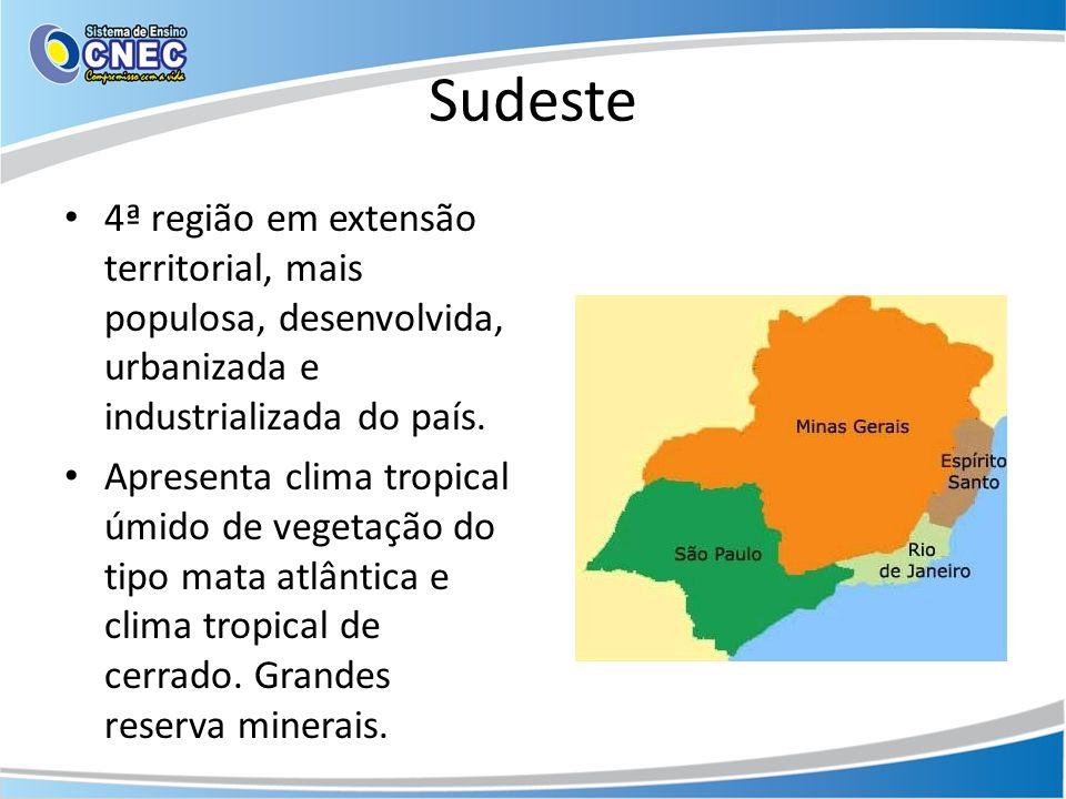 Sudeste 4ª região em extensão territorial, mais populosa, desenvolvida, urbanizada e industrializada do país. Apresenta clima tropical úmido de vegeta