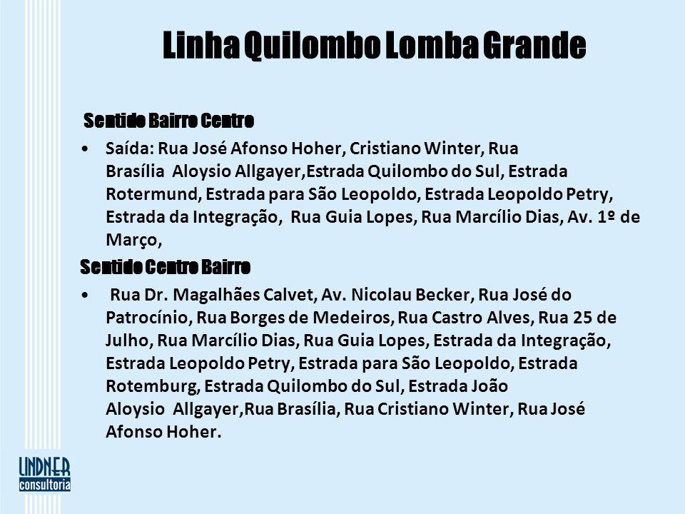 Linha Quilombo Lomba Grande Sentido Bairro Centro Saída: Rua José Afonso Hoher, Cristiano Winter, Rua Brasília Aloysio Allgayer,Estrada Quilombo do Su