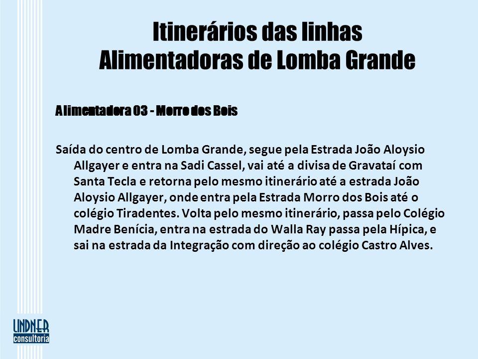 Itinerários das linhas Alimentadoras de Lomba Grande Alimentadora 03 - Morro dos Bois Saída do centro de Lomba Grande, segue pela Estrada João Aloysio