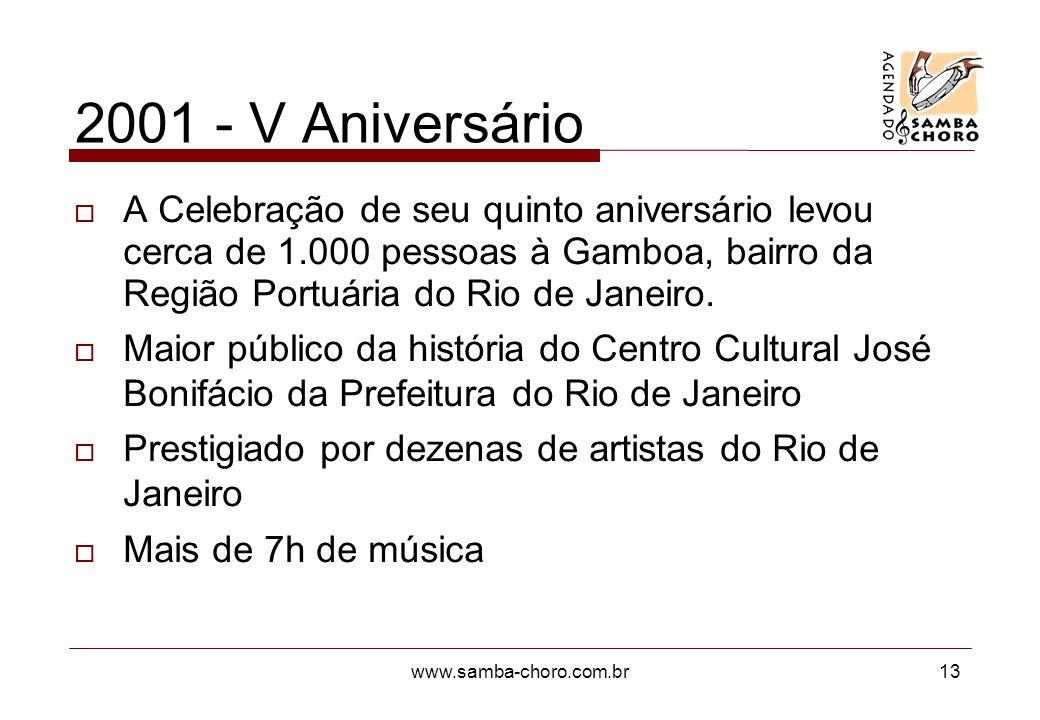 www.samba-choro.com.br13 2001 - V Aniversário A Celebração de seu quinto aniversário levou cerca de 1.000 pessoas à Gamboa, bairro da Região Portuária do Rio de Janeiro.