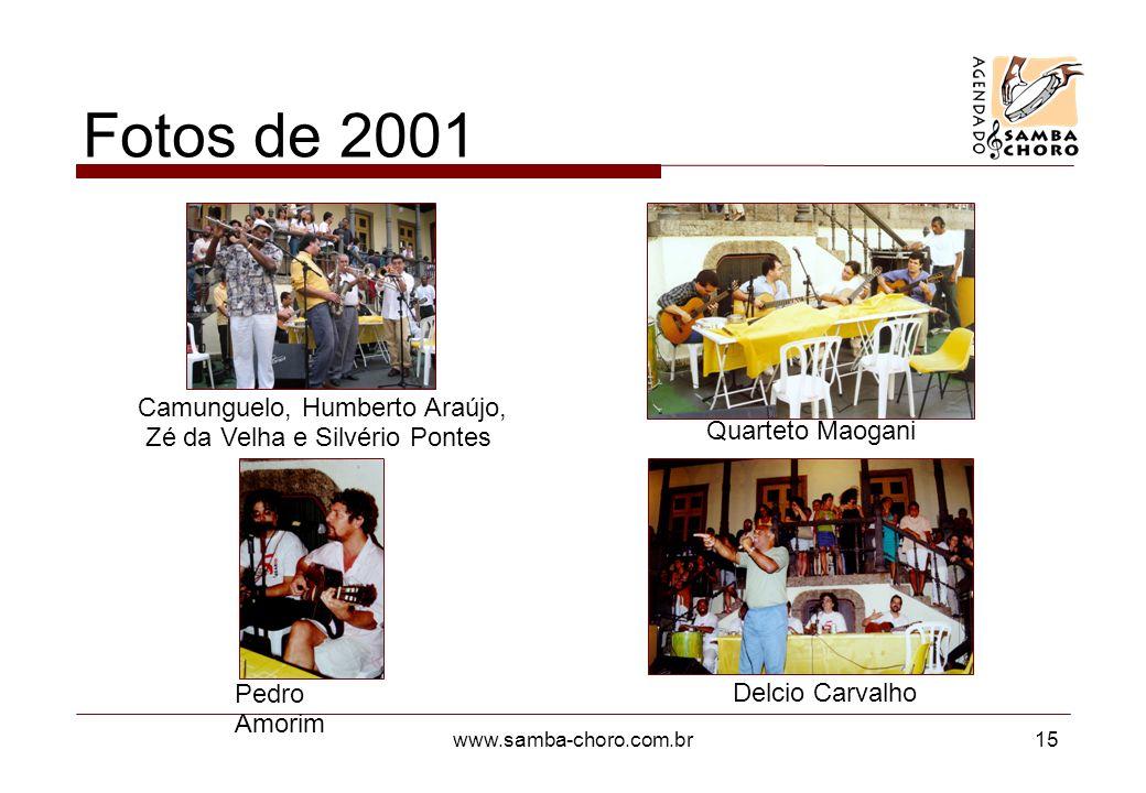www.samba-choro.com.br15 Fotos de 2001 Camunguelo, Humberto Araújo, Zé da Velha e Silvério Pontes Pedro Amorim Quarteto Maogani Delcio Carvalho