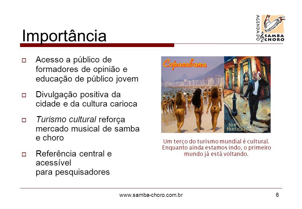 www.samba-choro.com.br6 Importância Acesso a público de formadores de opinião e educação de público jovem Divulgação positiva da cidade e da cultura carioca Turismo cultural reforça mercado musical de samba e choro Referência central e acessível para pesquisadores Um terço do turismo mundial é cultural.