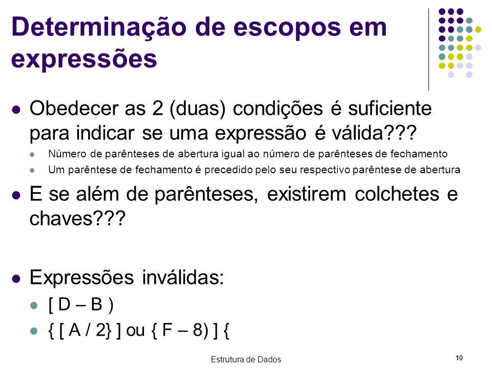 Estrutura de Dados 10 Determinação de escopos em expressões Obedecer as 2 (duas) condições é suficiente para indicar se uma expressão é válida??? Núme