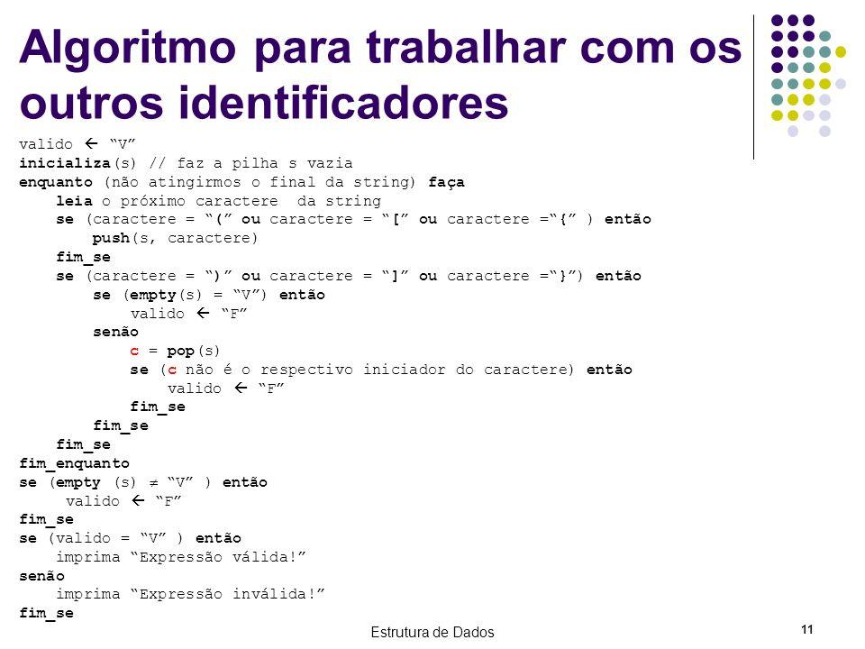 Estrutura de Dados 11 Algoritmo para trabalhar com os outros identificadores valido V inicializa(s) // faz a pilha s vazia enquanto (não atingirmos o