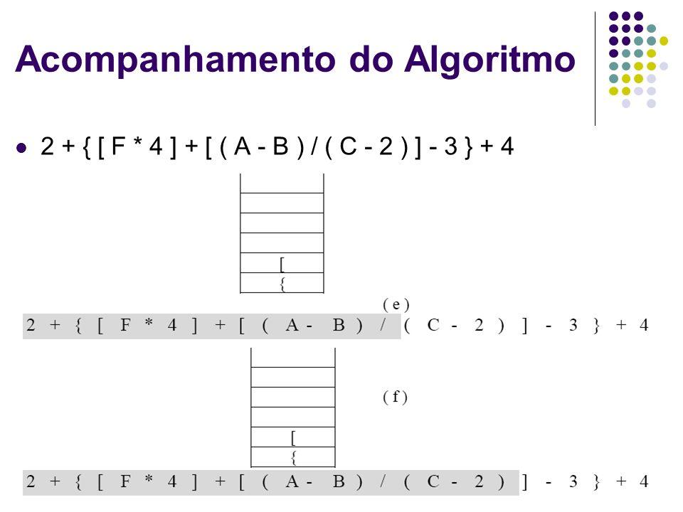 Estrutura de Dados 14 Acompanhamento do Algoritmo 2 + { [ F * 4 ] + [ ( A - B ) / ( C - 2 ) ] - 3 } + 4