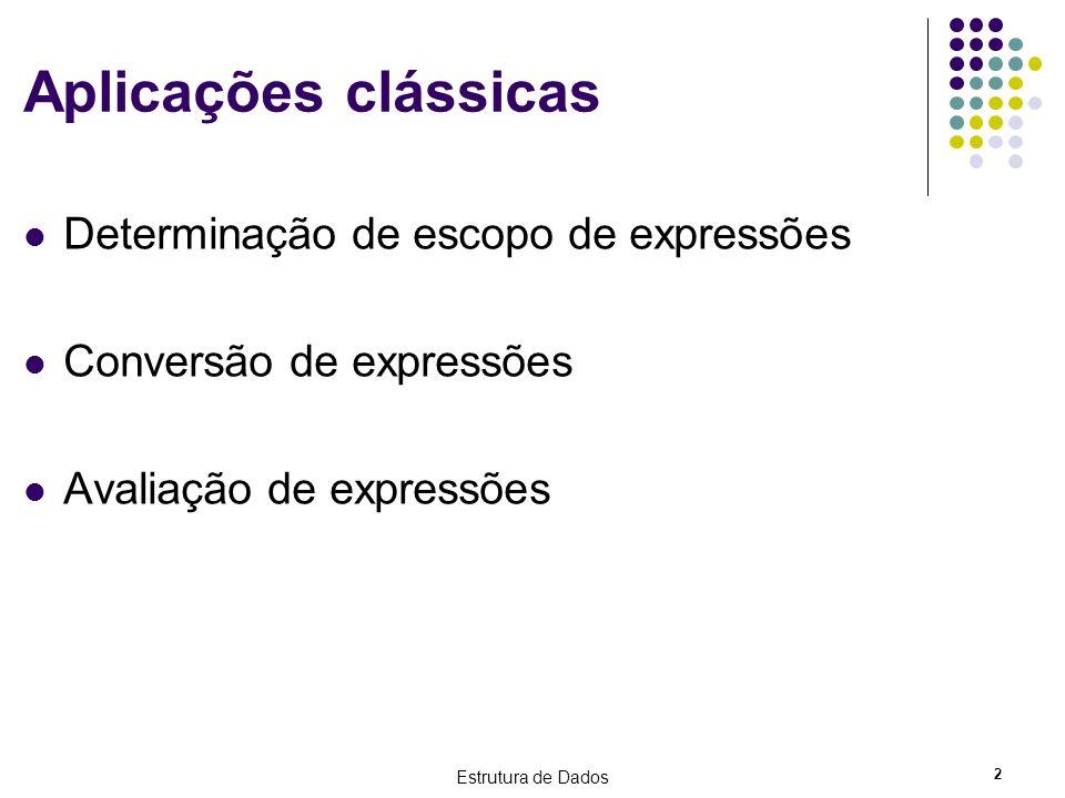Estrutura de Dados 33 Avaliando a forma Pós-fixa Expressão Infixa: (A – B)*(C+D)/E Expressão Pós-fixa: AB-CD+*E/ Uma vantagem da expressão pós-fixa é não necessitar de parênteses para entendermos a precedência das operações Basta realizar as operações da esquerda para a direita ABCDE 62538