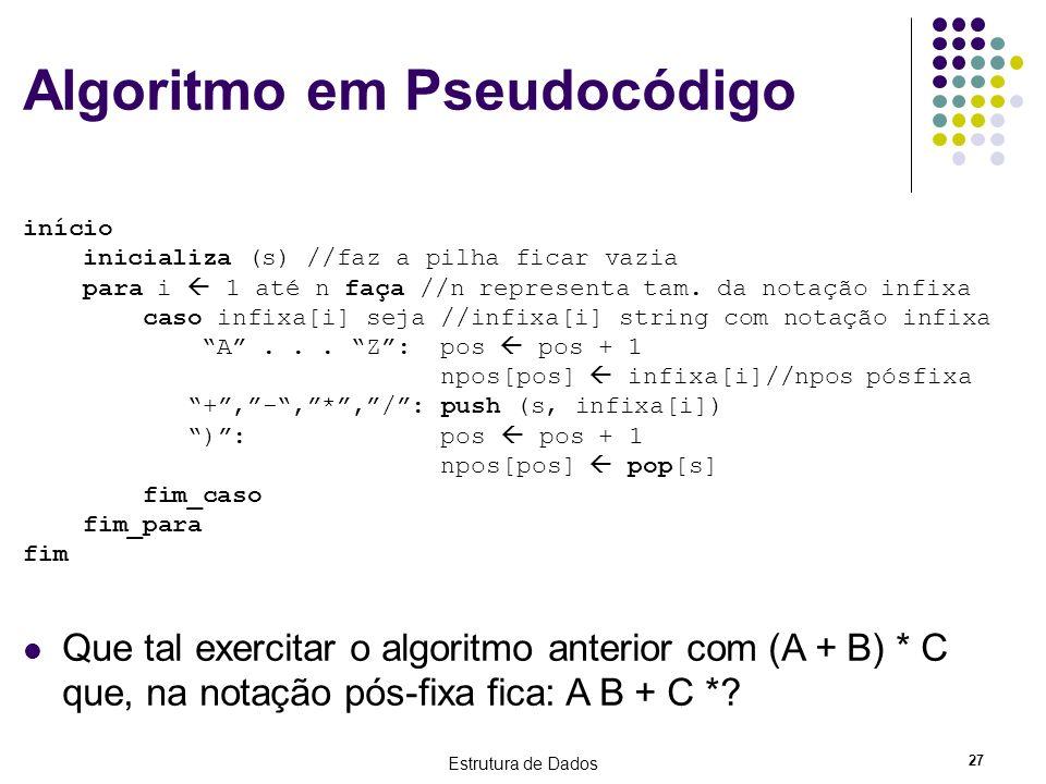 Estrutura de Dados 27 Algoritmo em Pseudocódigo início inicializa (s) //faz a pilha ficar vazia para i 1 até n faça //n representa tam. da notação inf