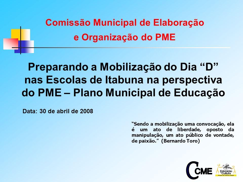 1 Preparando a Mobilização do Dia D nas Escolas de Itabuna na perspectiva do PME – Plano Municipal de Educação Data: 30 de abril de 2008 Sendo a mobilização uma convocação, ela é um ato de liberdade, oposto da manipulação, um ato público de vontade, de paixão.