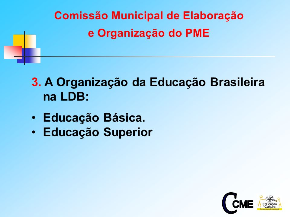 4 3. A Organização da Educação Brasileira na LDB: Educação Básica. Educação Superior Comissão Municipal de Elaboração e Organização do PME