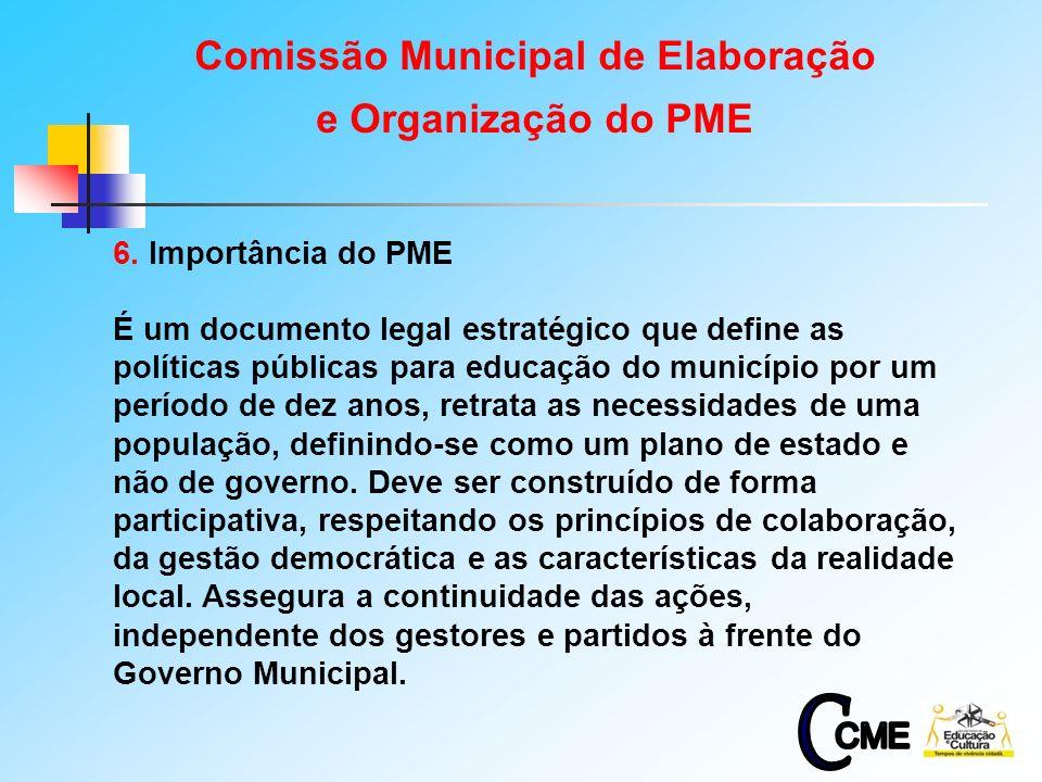 8 6. Importância do PME É um documento legal estratégico que define as políticas públicas para educação do município por um período de dez anos, retra