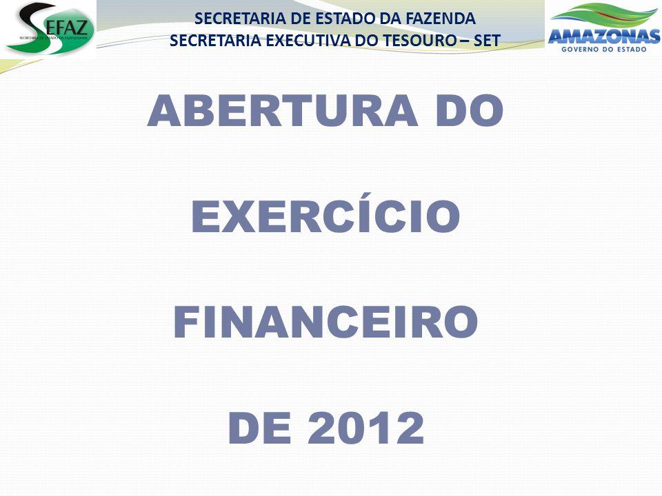 SECRETARIA DE ESTADO DA FAZENDA SECRETARIA EXECUTIVA DO TESOURO – SET ABERTURA DO EXERCÍCIO FINANCEIRO DE 2012