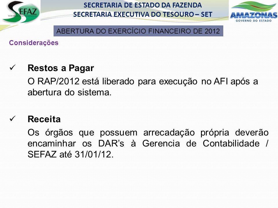 Considerações Restos a Pagar O RAP/2012 está liberado para execução no AFI após a abertura do sistema.