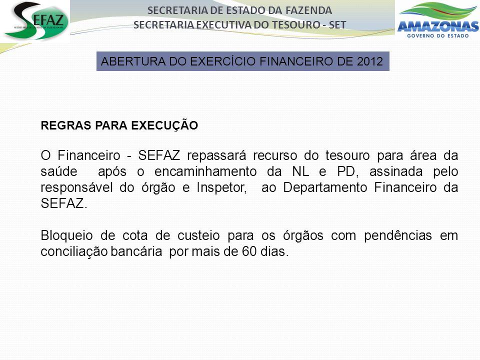 SECRETARIA DE ESTADO DA FAZENDA SECRETARIA EXECUTIVA DO TESOURO - SET ABERTURA DO EXERCÍCIO FINANCEIRO DE 2012 REGRAS PARA EXECUÇÃO O Financeiro - SEFAZ repassará recurso do tesouro para área da saúde após o encaminhamento da NL e PD, assinada pelo responsável do órgão e Inspetor, ao Departamento Financeiro da SEFAZ.