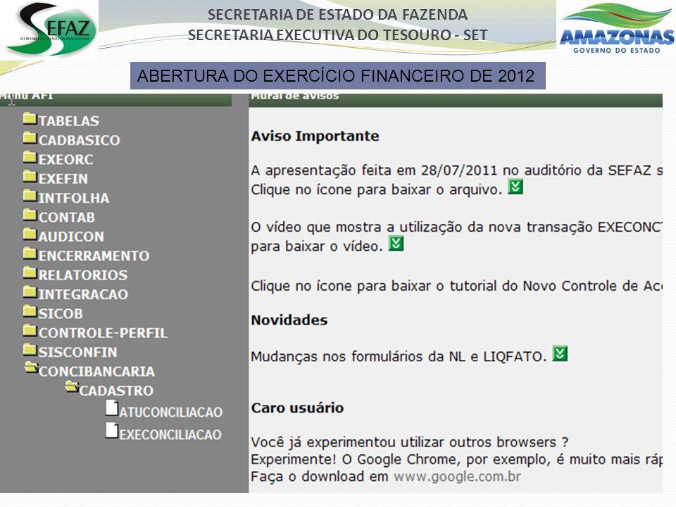 SECRETARIA DE ESTADO DA FAZENDA SECRETARIA EXECUTIVA DO TESOURO - SET ABERTURA DO EXERCÍCIO FINANCEIRO DE 2012