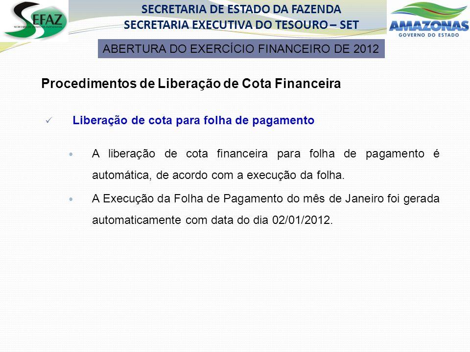 Procedimentos de Liberação de Cota Financeira Liberação de cota para folha de pagamento A liberação de cota financeira para folha de pagamento é automática, de acordo com a execução da folha.