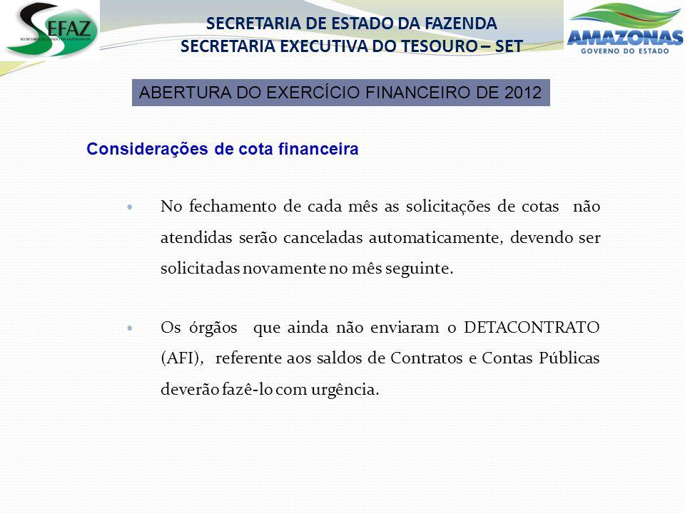 Considerações de cota financeira No fechamento de cada mês as solicitações de cotas não atendidas serão canceladas automaticamente, devendo ser solicitadas novamente no mês seguinte.