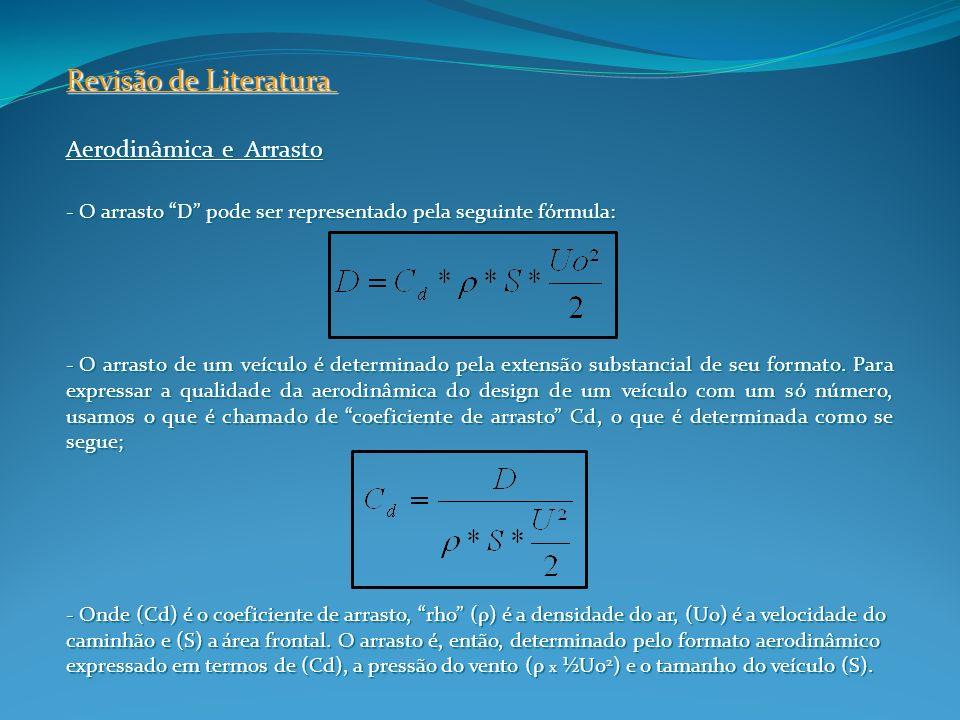 Aerodinâmica e Arrasto - O arrasto D pode ser representado pela seguinte fórmula: - O arrasto de um veículo é determinado pela extensão substancial de
