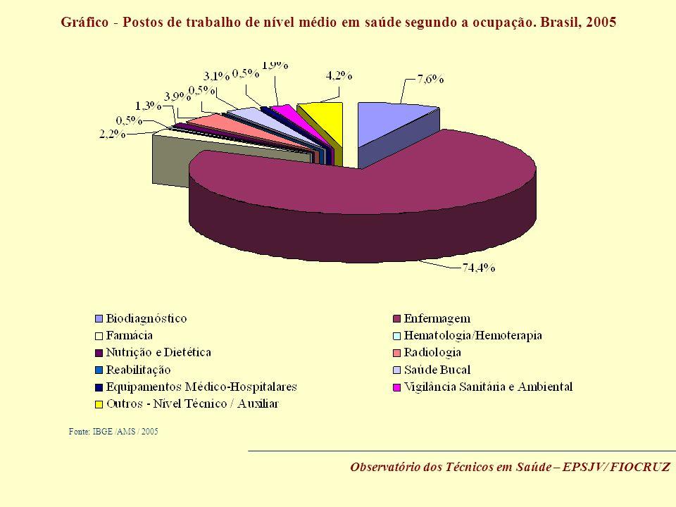 Gráfico - Postos de trabalho de nível médio em saúde segundo a ocupação. Brasil, 2005 Fonte: IBGE /AMS / 2005 Observatório dos Técnicos em Saúde – EPS