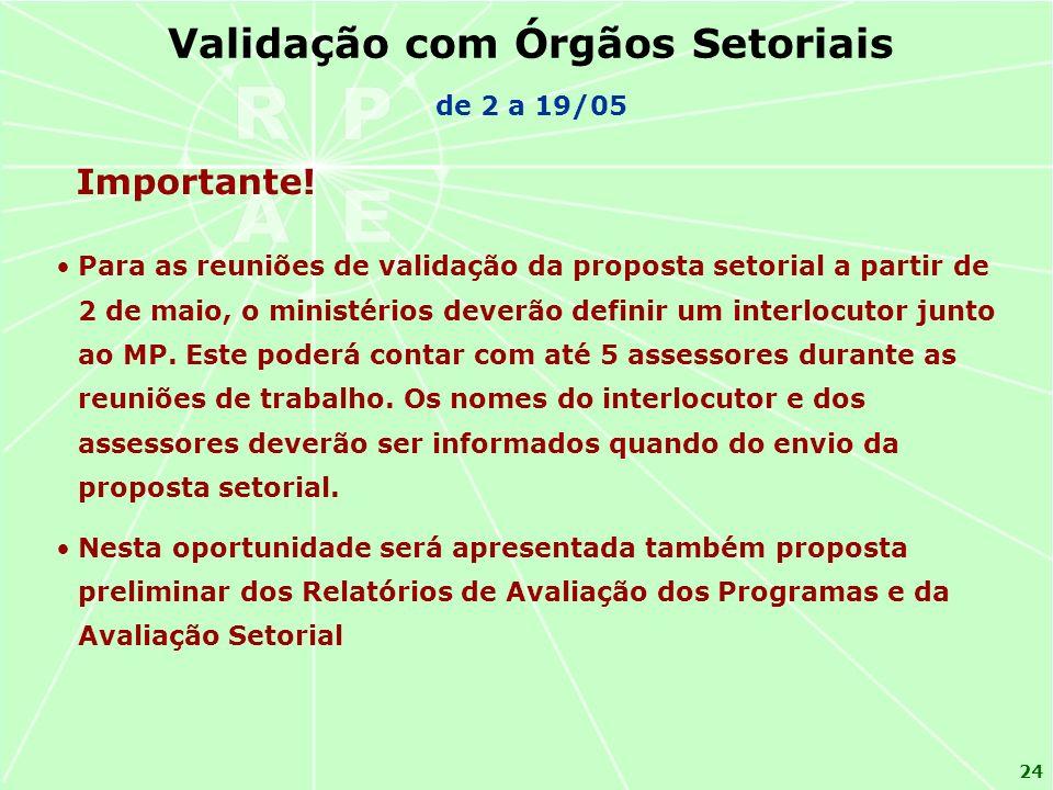 24 Importante! Validação com Órgãos Setoriais de 2 a 19/05 Para as reuniões de validação da proposta setorial a partir de 2 de maio, o ministérios dev