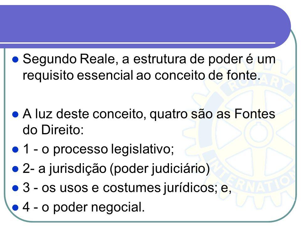 Segundo Reale, a estrutura de poder é um requisito essencial ao conceito de fonte. A luz deste conceito, quatro são as Fontes do Direito: 1 - o proces