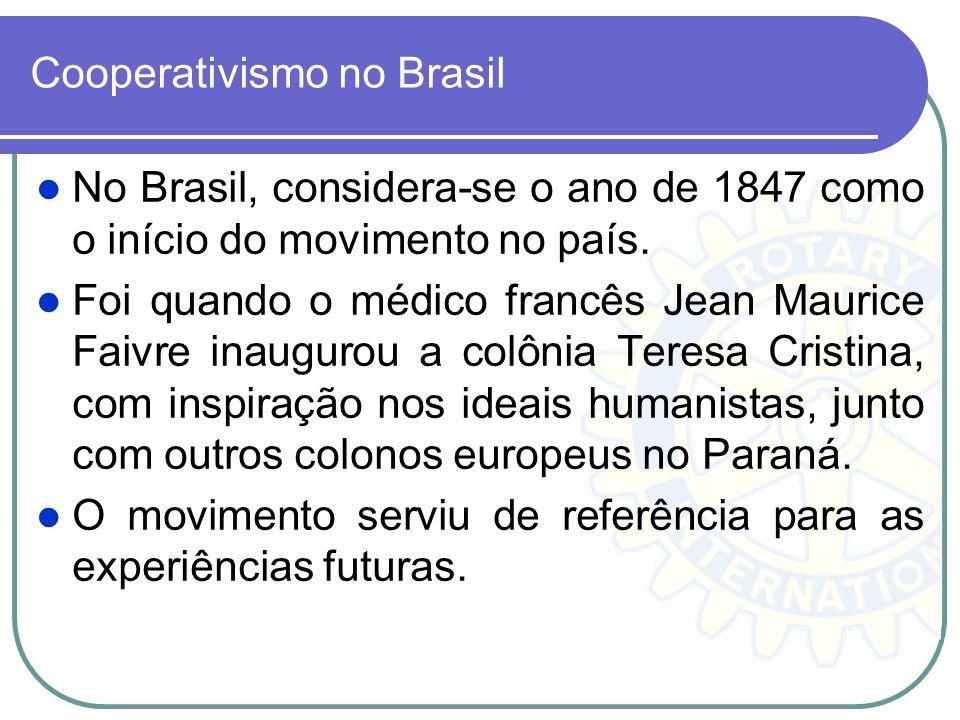 Cooperativismo no Brasil No Brasil, considera-se o ano de 1847 como o início do movimento no país. Foi quando o médico francês Jean Maurice Faivre ina