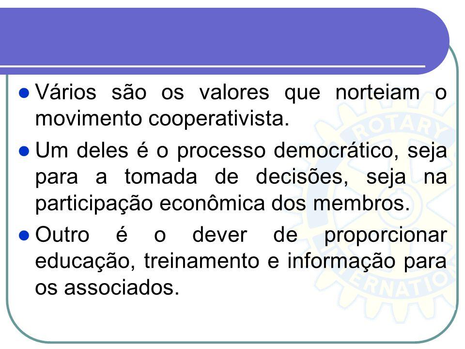 Vários são os valores que norteiam o movimento cooperativista. Um deles é o processo democrático, seja para a tomada de decisões, seja na participação