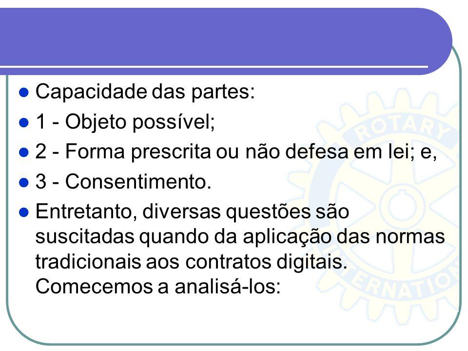 Capacidade das partes: 1 - Objeto possível; 2 - Forma prescrita ou não defesa em lei; e, 3 - Consentimento. Entretanto, diversas questões são suscitad