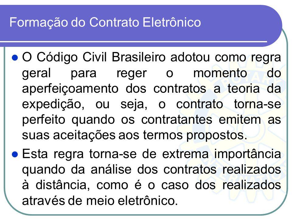 Formação do Contrato Eletrônico O Código Civil Brasileiro adotou como regra geral para reger o momento do aperfeiçoamento dos contratos a teoria da ex