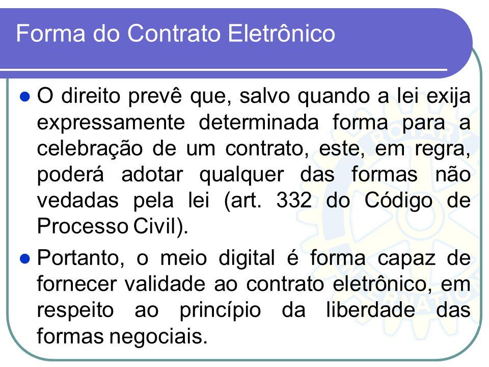 Forma do Contrato Eletrônico O direito prevê que, salvo quando a lei exija expressamente determinada forma para a celebração de um contrato, este, em