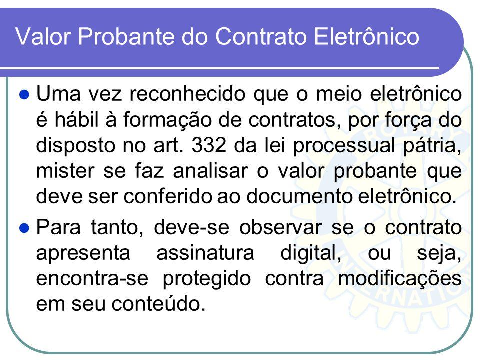 Valor Probante do Contrato Eletrônico Uma vez reconhecido que o meio eletrônico é hábil à formação de contratos, por força do disposto no art. 332 da