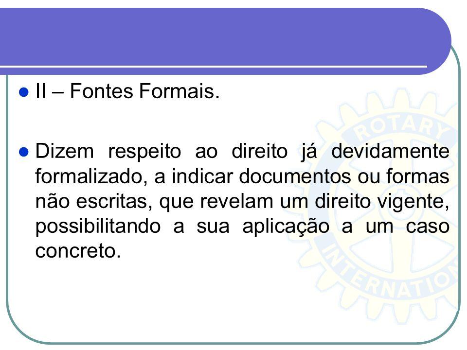 II – Fontes Formais. Dizem respeito ao direito já devidamente formalizado, a indicar documentos ou formas não escritas, que revelam um direito vigente