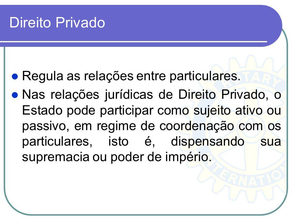 Direito Privado Regula as relações entre particulares. Nas relações jurídicas de Direito Privado, o Estado pode participar como sujeito ativo ou passi
