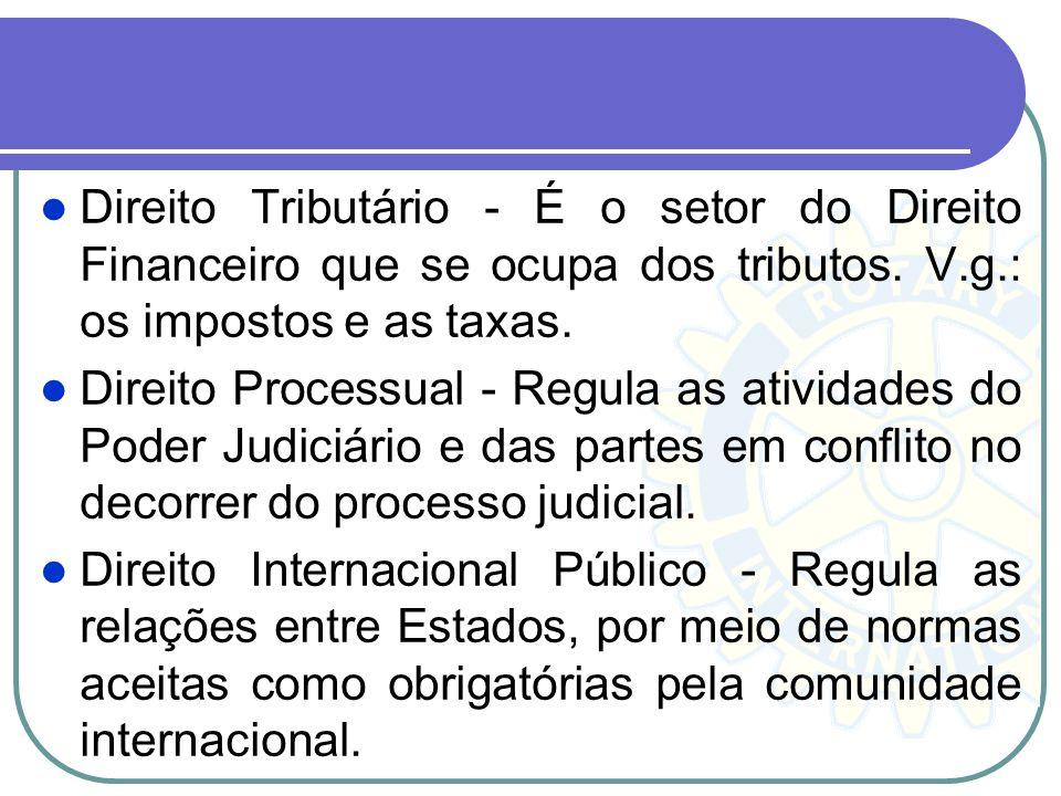 Direito Tributário - É o setor do Direito Financeiro que se ocupa dos tributos. V.g.: os impostos e as taxas. Direito Processual - Regula as atividade