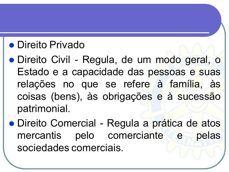 Direito Privado Direito Civil - Regula, de um modo geral, o Estado e a capacidade das pessoas e suas relações no que se refere à família, às coisas (b