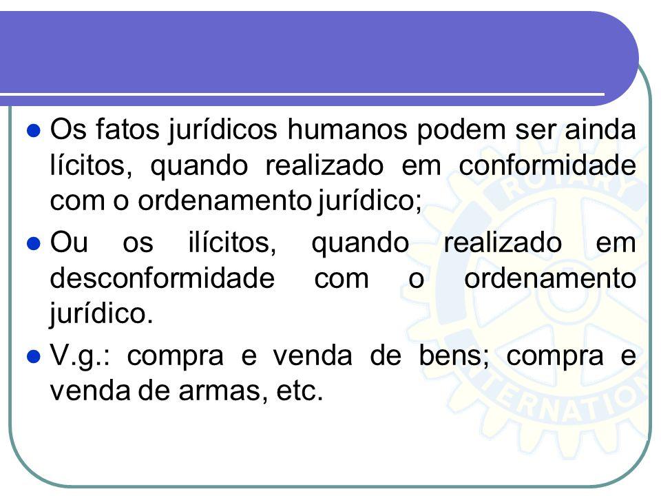 Os fatos jurídicos humanos podem ser ainda lícitos, quando realizado em conformidade com o ordenamento jurídico; Ou os ilícitos, quando realizado em d