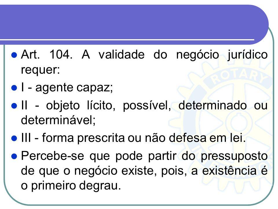 Art. 104. A validade do negócio jurídico requer: I - agente capaz; II - objeto lícito, possível, determinado ou determinável; III - forma prescrita ou