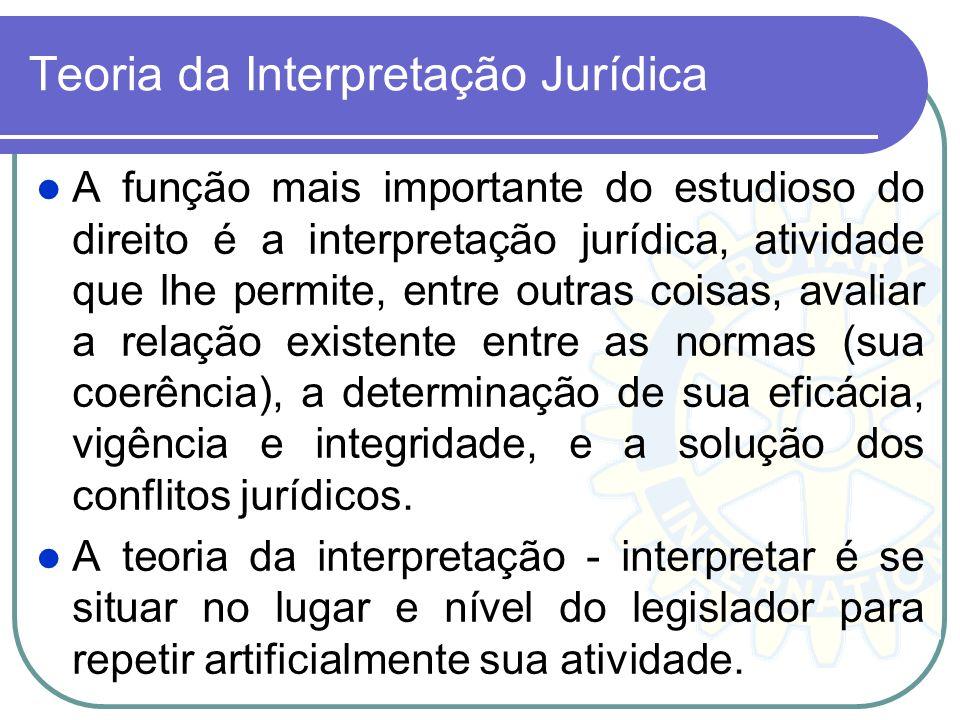 Teoria da Interpretação Jurídica A função mais importante do estudioso do direito é a interpretação jurídica, atividade que lhe permite, entre outras