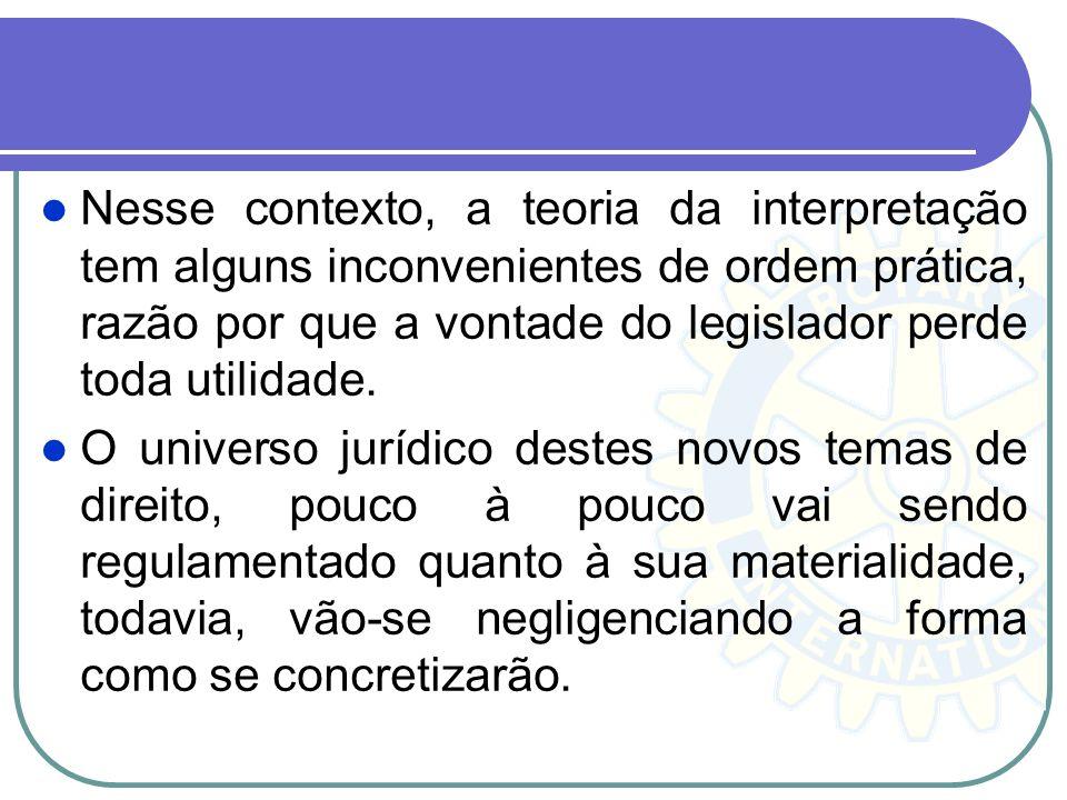 Nesse contexto, a teoria da interpretação tem alguns inconvenientes de ordem prática, razão por que a vontade do legislador perde toda utilidade. O un