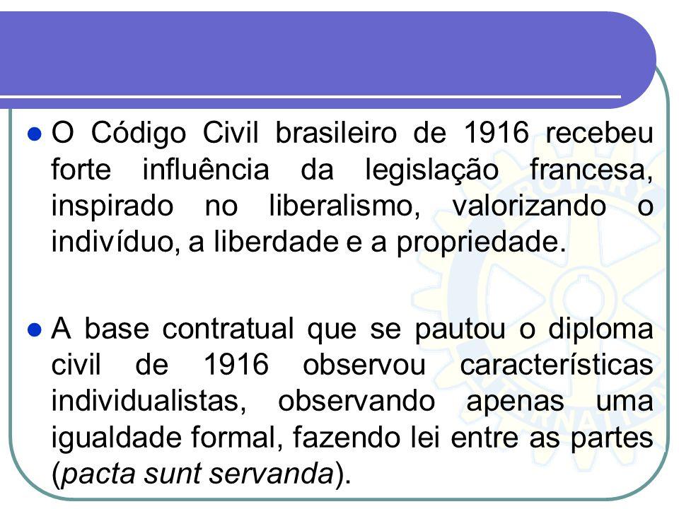 O Código Civil brasileiro de 1916 recebeu forte influência da legislação francesa, inspirado no liberalismo, valorizando o indivíduo, a liberdade e a