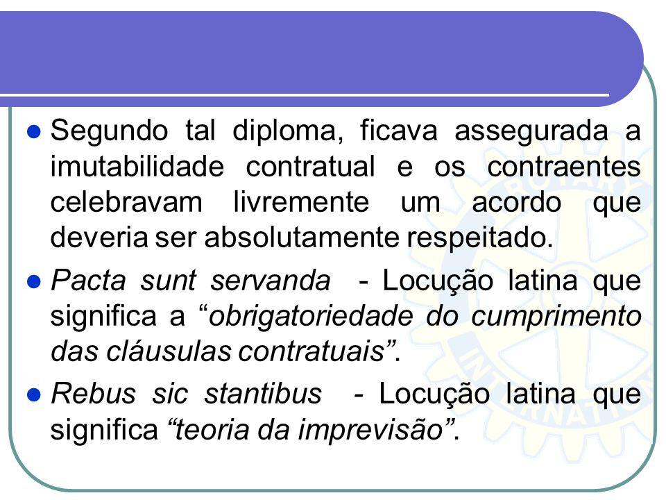 Segundo tal diploma, ficava assegurada a imutabilidade contratual e os contraentes celebravam livremente um acordo que deveria ser absolutamente respe
