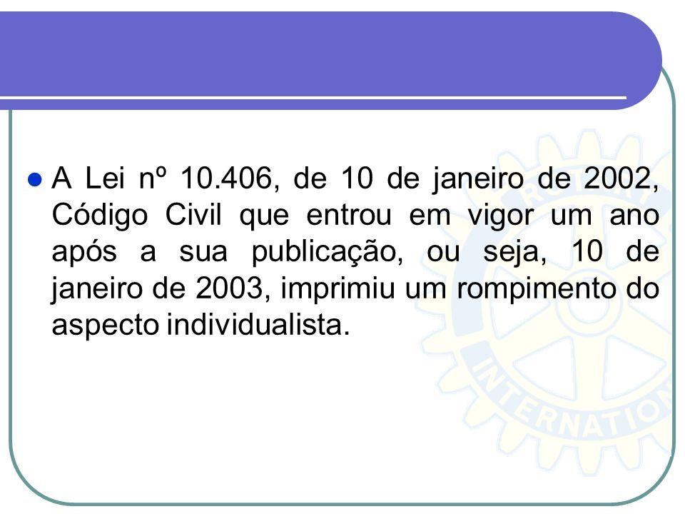 A Lei nº 10.406, de 10 de janeiro de 2002, Código Civil que entrou em vigor um ano após a sua publicação, ou seja, 10 de janeiro de 2003, imprimiu um