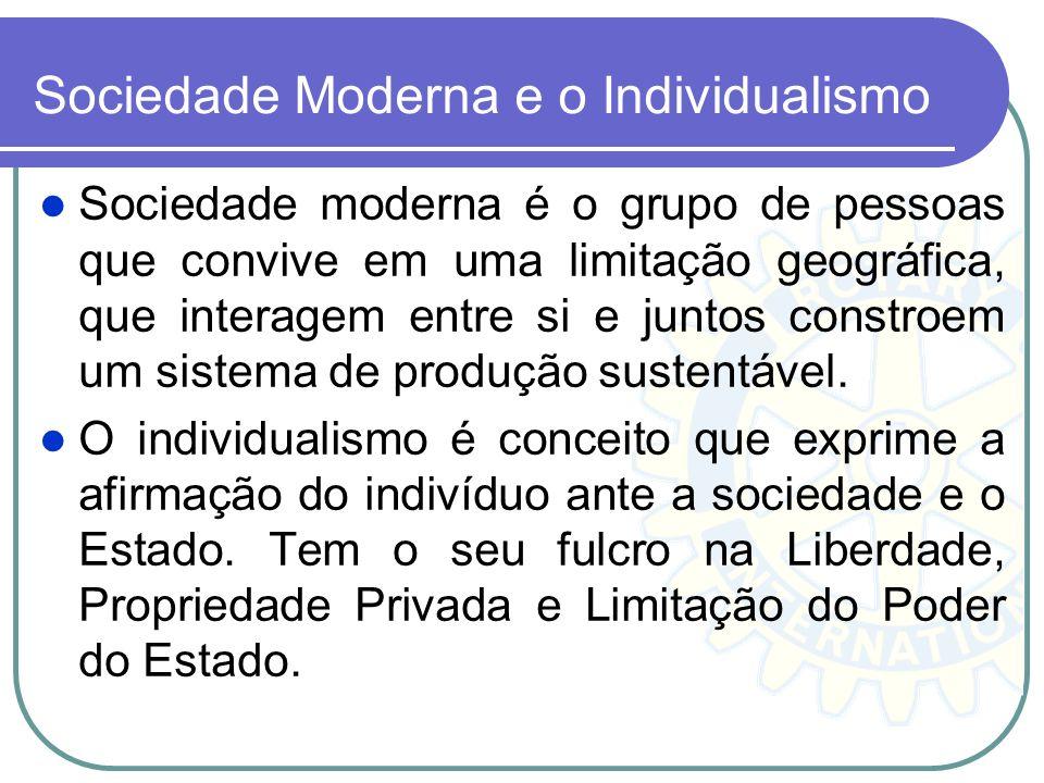 Sociedade Moderna e o Individualismo Sociedade moderna é o grupo de pessoas que convive em uma limitação geográfica, que interagem entre si e juntos c